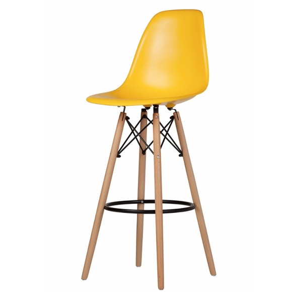 Plastic Bar Stool With Wood Base, Yellow